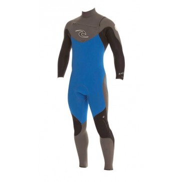 Rip Curl E-Bomb Pro 4/3 Chest Zip Wetsuit - Blue/Charcoal/Black