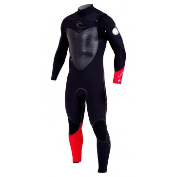 Rip Curl Flash Bomb Plus 4/3 Chest Zip Wetsuit - Black/Red