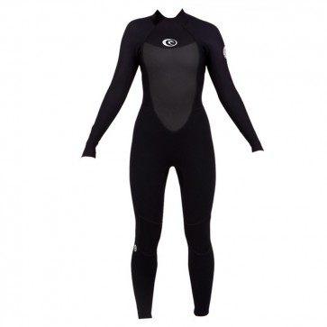 Rip Curl Women's Omega 3/2 Flatlock Back Zip Wetsuit - Black