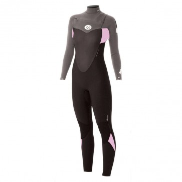 Rip Curl Women's Flash Bomb 3/2 Chest Zip Wetsuit - Black/Grey/Pink