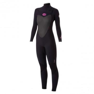 Rip Curl Women's Flash Bomb 4/3 Chest Zip Wetsuit - Black