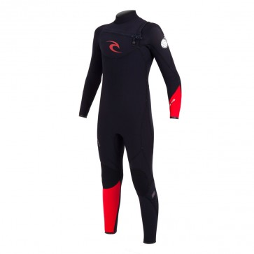 Rip Curl Youth Flash Bomb 4/3 Chest Zip Wetsuit - Black/Red