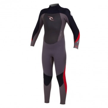 Rip Curl Youth Dawn Patrol 4/3 GB Back Zip Wetsuit - Black/Charcoal/Red
