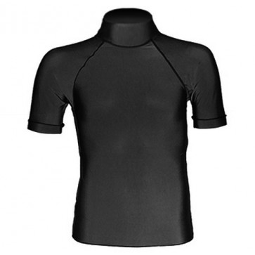 Hotline High Neck S/S Rash Guard - Black