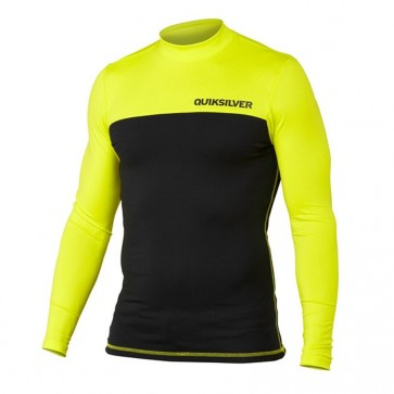 Quiksilver Wetsuits Chop Block Long Sleeve Rash Guard - Citric Acid/Black