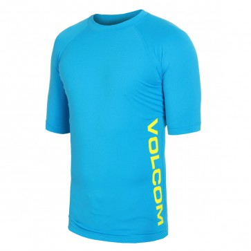 Volcom Solid Short Sleeve Rash Guard - Cosmic Blue