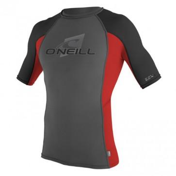 O'Neill Skins Short Sleeve Crew Rash Guard - Graphite/Red/Black