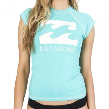 Billabong Women's Atlantica Short Sleeve Rash Guard - Aquamarine