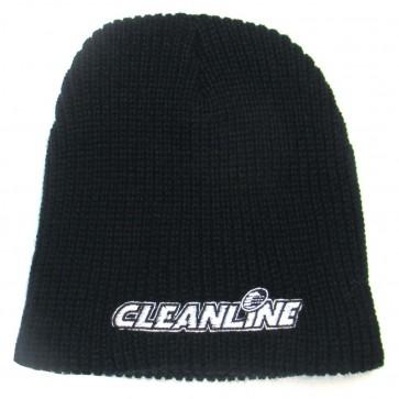 Cleanline Corp Logo Short Knit Beanie - Black/White