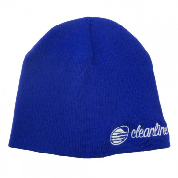 Cleanline Cursive Short Beanie - Royal/White