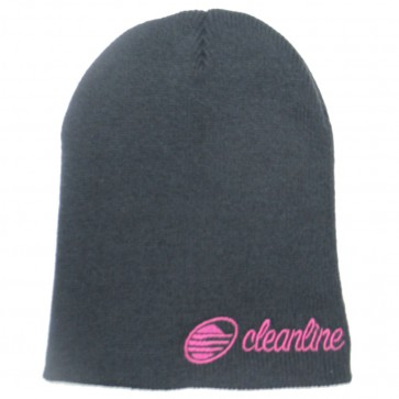 Cleanline Cursive Short Beanie - Charcoal/Purple