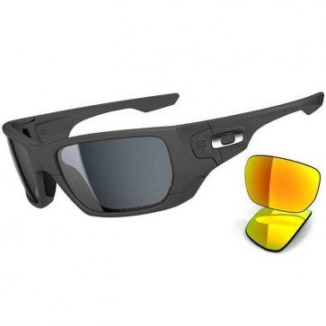 Oakley Style Switch Polarized Sunglasses - Matte Dark Grey/Grey Polarized + Fire Iridium
