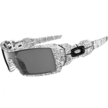 Oakley Oil Rig Sunglasses - White/Text Print/Grey