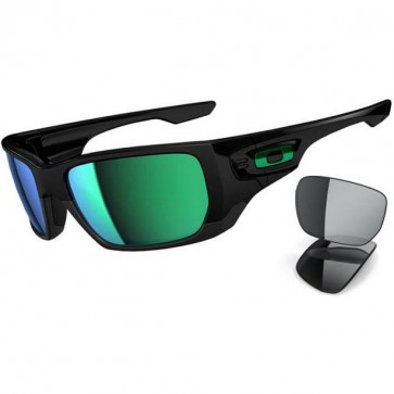 Oakley Style Switch Sunglasses - Polished Black/Jade Iridium + Grey