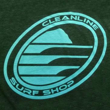 Cleanline Corp Logo/Big Rock T-Shirt - Navy Black/Aqua