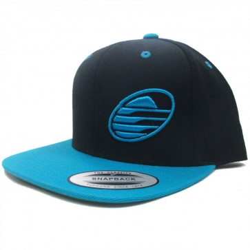 Cleanline Embroidered Rock Flat-Bill Snap Hat - Black/Teal