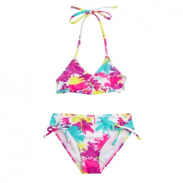 Roxy Youth Seeing Palms Ruffle Tiki Tri Set Swimsuit - Bright White