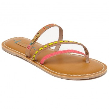 Roxy Women's Mardi Gras Sandals - Tan/Crazy Pink