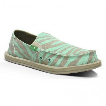 Sanuk Women's I'm Game Sidewalk Surfers - Zebra/Aqua