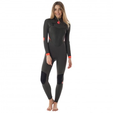 Billabong Women's Synergy 3/2 Chest Zip Wetsuit - Off Black