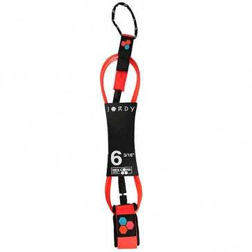 Channel Islands Jordy Smith Comp Hex Cord Leash - 6'0 - Flo Red