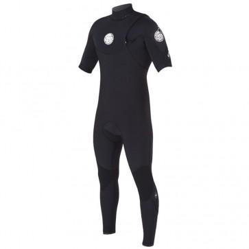 Rip Curl E-Bomb Pro 2/2 Zip Free Short Sleeve Wetsuit - Black
