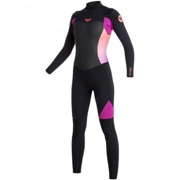 Roxy Women's Syncro 3/2 Flatlock Back Zip Wetsuit - Black/Violet/Coral