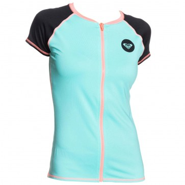 Roxy Wetsuits Women's Zip Short Sleeve Rash Guard - Water