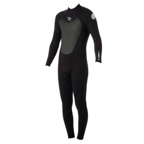 Rip Curl Omega Back Zip Flatlock 3/2 Wetsuit - Black