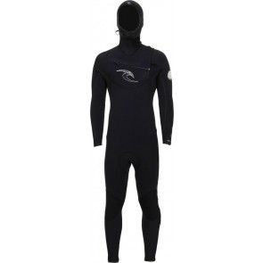 Rip Curl E-Bomb 5.5/4.5 Hooded Chest Zip Wetsuit - Black/White