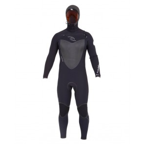 Rip Curl Flash Bomb 5/4 Hooded Chest Zip Wetsuit - Black