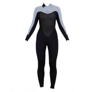 Rip Curl Women's Dawn Patrol 3/2 Back Zip Wetsuit - Black/Grey