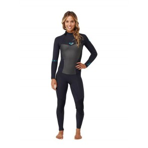 Roxy Women's Syncro 3/2 Flatlock Back Zip Wetsuit - Black -Front