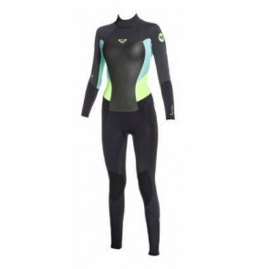 Roxy Syncro 4/3 GBS Back Zip Wetsuit - Black/Seafoam/Lime - Front