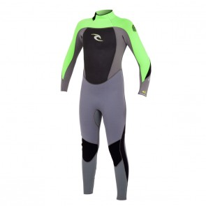 Rip Curl Youth Dawn Patrol 4/3 GB Back Zip Wetsuit - Charcoal/Lime