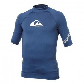 Quiksilver Wetsuits All Time Short Sleeve Rash Guard - Navy