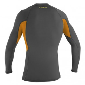 O'Neill Skins Graphic Long Sleeve Crew Rash Guard - Graphite/Blaze