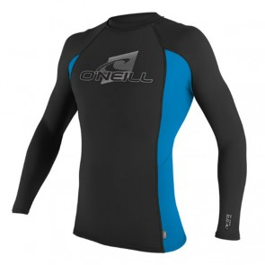O'Neill Skins Long Sleeve Crew Rash Guard - Black/Blue