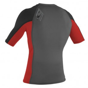 O'Neill Skins Short Sleeve Crew Rash Guard - Graphite/Red/Black