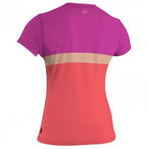 O'Neill Women's Skins Color Block S/S Rash Tee - Grapefruit