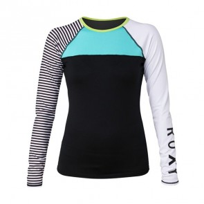 Roxy Women's Neon Tide Long Sleeve Rash Guard - True Black