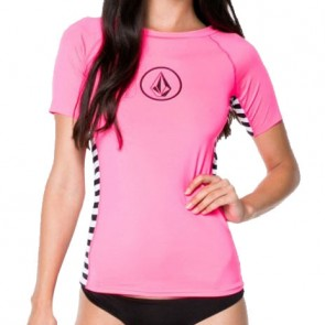 Volcom Women's Simply Solid Short Sleeve Rash Guard - Bright Coral