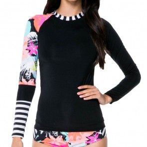 Volcom Women's Night Out Long Sleeve Rash Guard - Multi