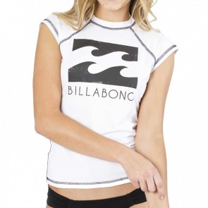 Billabong Women's Atlantica Short Sleeve Rash Guard - White