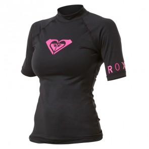 Roxy Women's Whole Hearted Short Sleeve Rash Guard - Black/Pink