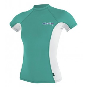 O'Neill Women's Skins Short Sleeve Rash Guard - Aqua/White
