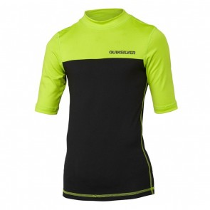Quiksilver Wetsuits Youth Chop Block Short Sleeve Rash Guard - Black/Lime