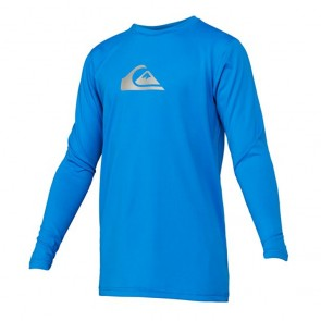 Quiksilver Wetsuits Youth Solid Streak Long Sleeve Rash Guard - Blue