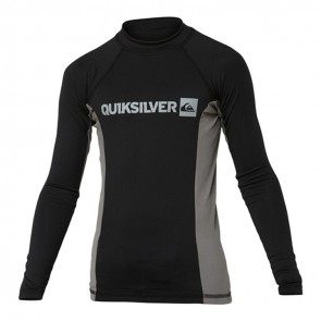 Quiksilver Wetsuits Youth Prime Long Sleeve Rash Guard - Metal/Black