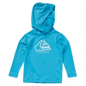 Quiksilver Wetsuits Toddler Mounds Long Sleeve Hoodie Rash Guard - Cyan